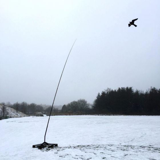 Habicht Drachen mit 7 Meter Teleskopstange, Drehfuß® bis 27 M/S Wind