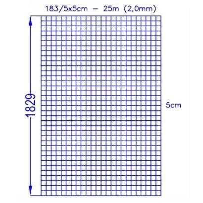 Volierenzaun 183/5x5 (25m)