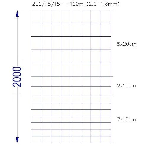 Wildlife zaun 200/15/15 (100m)