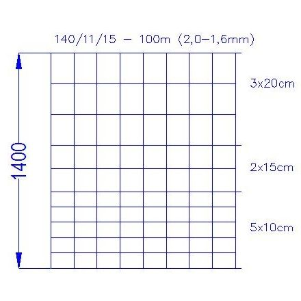 Wildlife zaun 140/11/15 3/2mm (100m)